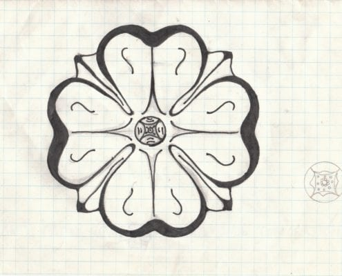 The prototype Roland Park dogwood rosette. This is Tony Pinto's original drawing of the now iconic emblem. Pinto designed it in 1991, in time for the Roland Park centennial. It initially served as the logo for just the Roads & Maintenance Corp., but has since been adopted by the Civic League and the Community Foundation. Click image to enlarge. (Courtesy of Anthony F. Pinto III.)